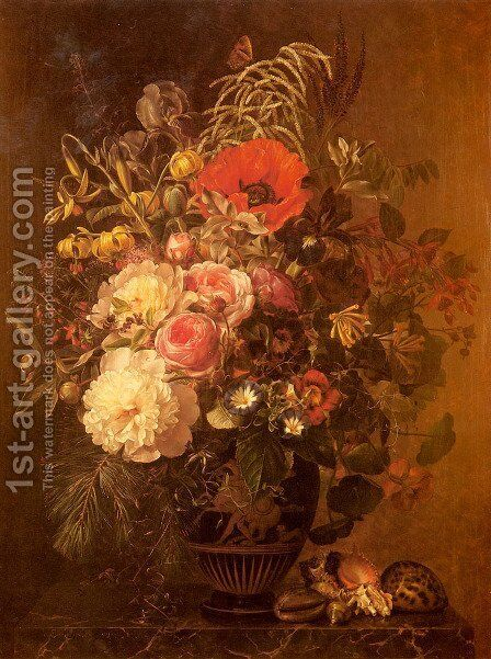 A Still Life with Flowers in a Greek Vase by Johan Laurentz Jensen - Reproduction Oil Painting