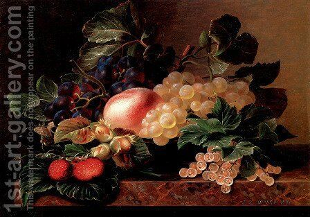 Grapes, Strawberries, a Peach, Hazelnuts and Berries in a Bowl on a marble Ledge by Johan Laurentz Jensen - Reproduction Oil Painting