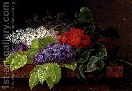 White and purple Lilacs, Camellia and Beech Leaves on a marble Ledge by Johan Laurentz Jensen - Reproduction Oil Painting
