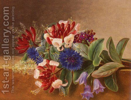A Still Life with Honeysuckle, Blue Cornflowers and Bluebells on a Marble Ledge by Johan Laurentz Jensen - Reproduction Oil Painting