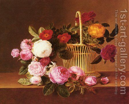 A Basket Of Roses On A Ledge by Johan Laurentz Jensen - Reproduction Oil Painting