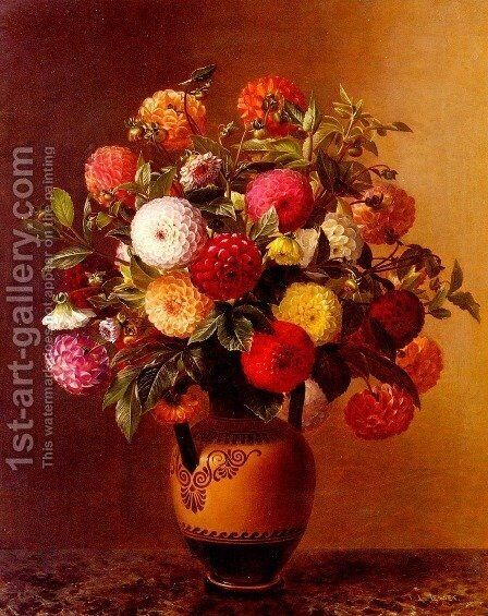 Still Life of Dahlias in a Vase by Johan Laurentz Jensen - Reproduction Oil Painting