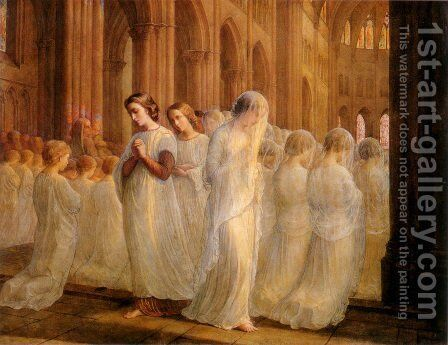Le Poème de l'âme - Première communion (The Poem of the Soul - First Communion) by Anne-Francois-Louis Janmot - Reproduction Oil Painting