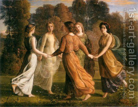 Le Poème de l'âme - Rayons du soleil (The Poem of the Soul - Rays of the Sun) by Anne-Francois-Louis Janmot - Reproduction Oil Painting