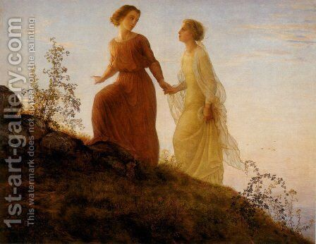 Le Poème de l'âme - Sur la montagne (The Poem of the Soul - On the Mountain) by Anne-Francois-Louis Janmot - Reproduction Oil Painting