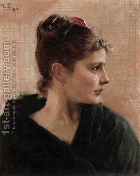 Naisen Pää (Portrait of a Young Lady) by Albert Edelfelt - Reproduction Oil Painting