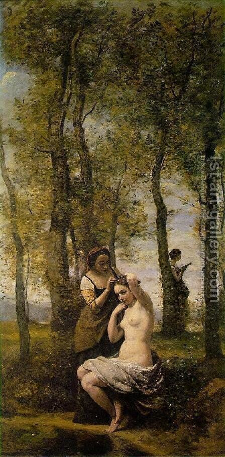 Le Toilette (or Landscape with Figures) by Jean-Baptiste-Camille Corot - Reproduction Oil Painting