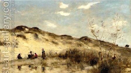 A Dune at Dunkirk by Jean-Baptiste-Camille Corot - Reproduction Oil Painting