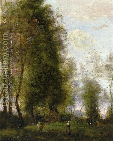 A Shady Resting Place (or Le Dormoir) by Jean-Baptiste-Camille Corot - Reproduction Oil Painting