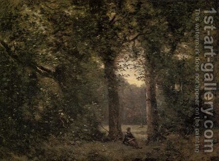 Souvenir of Ville d'Avray by Jean-Baptiste-Camille Corot - Reproduction Oil Painting