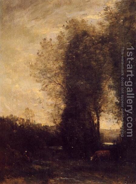 A Cow and its Keeper by Jean-Baptiste-Camille Corot - Reproduction Oil Painting
