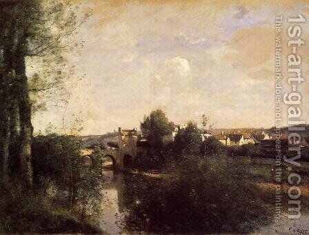 Old Bridge at Limay, on the Seine by Jean-Baptiste-Camille Corot - Reproduction Oil Painting