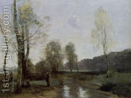 Canal in Picardi by Jean-Baptiste-Camille Corot - Reproduction Oil Painting