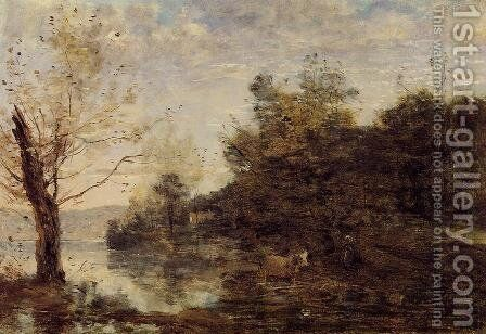 Cowherd by the Water by Jean-Baptiste-Camille Corot - Reproduction Oil Painting