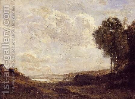 Landscape by the Lake by Jean-Baptiste-Camille Corot - Reproduction Oil Painting