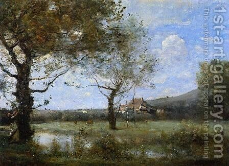 Meadow with Two Large Trees by Jean-Baptiste-Camille Corot - Reproduction Oil Painting