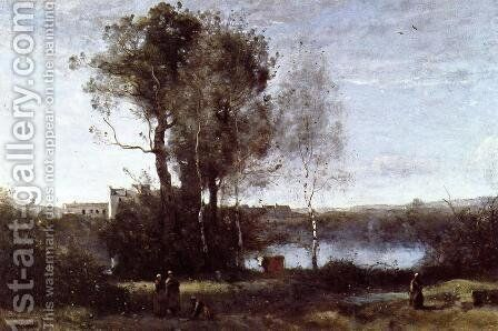 Large Sharecropping Farm by Jean-Baptiste-Camille Corot - Reproduction Oil Painting