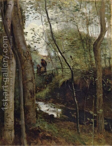 Un ruisseau sous bois (Stream in the Woods) by Jean-Baptiste-Camille Corot - Reproduction Oil Painting
