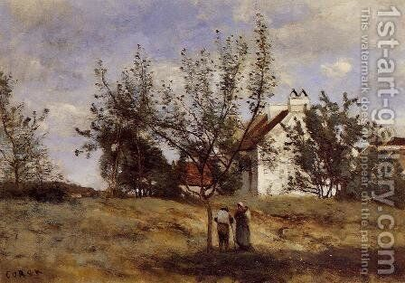 An Orchard at Harvest Time by Jean-Baptiste-Camille Corot - Reproduction Oil Painting