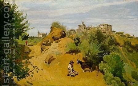 Genzano - Goatherd and Village by Jean-Baptiste-Camille Corot - Reproduction Oil Painting