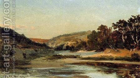 The Aqueduct in the Valley by Jean-Baptiste-Camille Corot - Reproduction Oil Painting