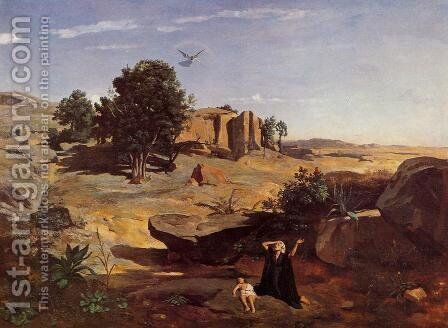 Hagar in the Wilderness by Jean-Baptiste-Camille Corot - Reproduction Oil Painting