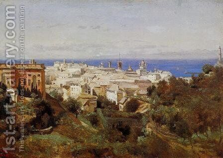 View of Genoa from the Promenade of Acqua Sola by Jean-Baptiste-Camille Corot - Reproduction Oil Painting