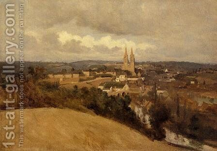 View of Saint-Lo by Jean-Baptiste-Camille Corot - Reproduction Oil Painting