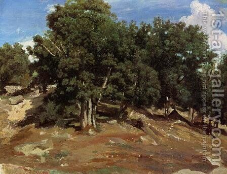 Fontainebleau - Black Oaks of Bas-Breau by Jean-Baptiste-Camille Corot - Reproduction Oil Painting