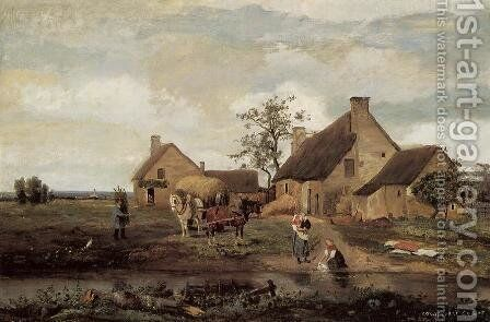 A Farm in the Nievre by Jean-Baptiste-Camille Corot - Reproduction Oil Painting