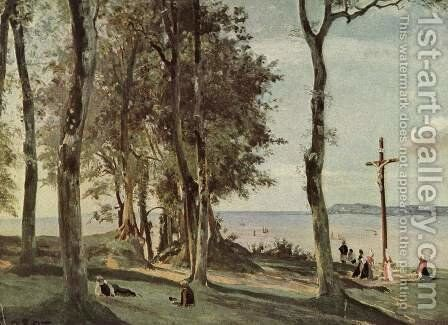 Honfleur - Calvary on the Cote de Grace by Jean-Baptiste-Camille Corot - Reproduction Oil Painting