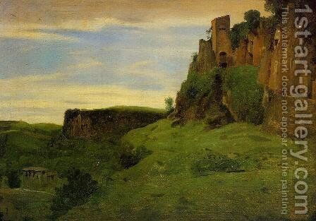 Civita Castelland - Buildings High in the Rocks (or La Porta San Salvatore) by Jean-Baptiste-Camille Corot - Reproduction Oil Painting