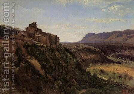 Papigno - Buildings Overlooking the Valley by Jean-Baptiste-Camille Corot - Reproduction Oil Painting