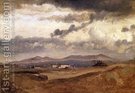 View of the Roman Campagna by Jean-Baptiste-Camille Corot - Reproduction Oil Painting