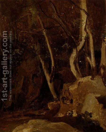 A Civita Castellana, Rochers Boises by Jean-Baptiste-Camille Corot - Reproduction Oil Painting
