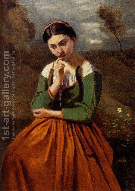 La Meditation by Jean-Baptiste-Camille Corot - Reproduction Oil Painting