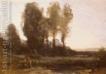 Le Monastere Derriere Les Arbres (The Monastery Behind the Trees) by Jean-Baptiste-Camille Corot - Reproduction Oil Painting