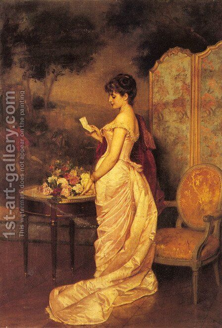 The Love Letter by Auguste Toulmouche - Reproduction Oil Painting
