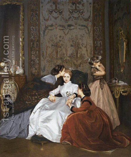 La Fiancée Hésitante (The Hesitant Betrothed) by Auguste Toulmouche - Reproduction Oil Painting