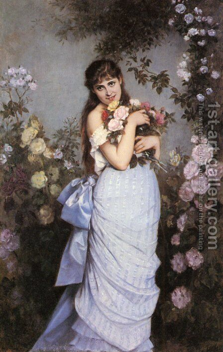 A Young Woman in a Rose Garden by Auguste Toulmouche - Reproduction Oil Painting