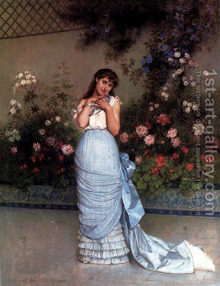 An Elegant Beauty by Auguste Toulmouche - Reproduction Oil Painting