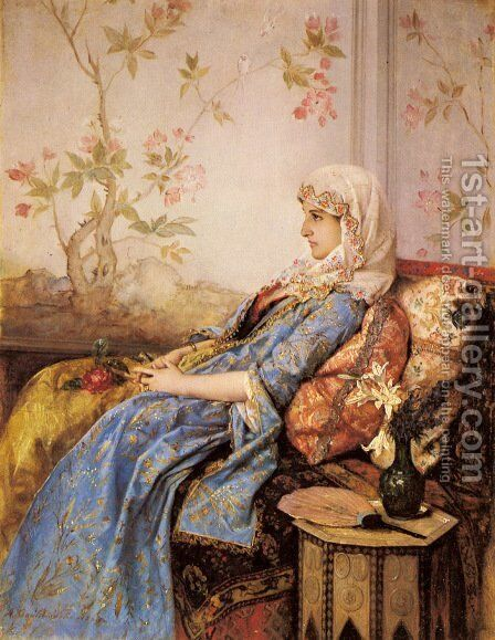 An Exotic Beauty in an Interior by Auguste Toulmouche - Reproduction Oil Painting
