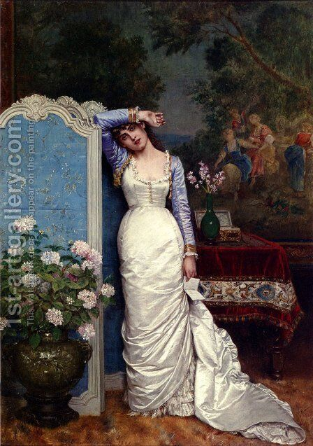 Young Woman In An Interior by Auguste Toulmouche - Reproduction Oil Painting
