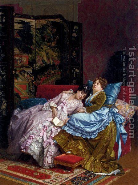 An Afternoon Idyll by Auguste Toulmouche - Reproduction Oil Painting