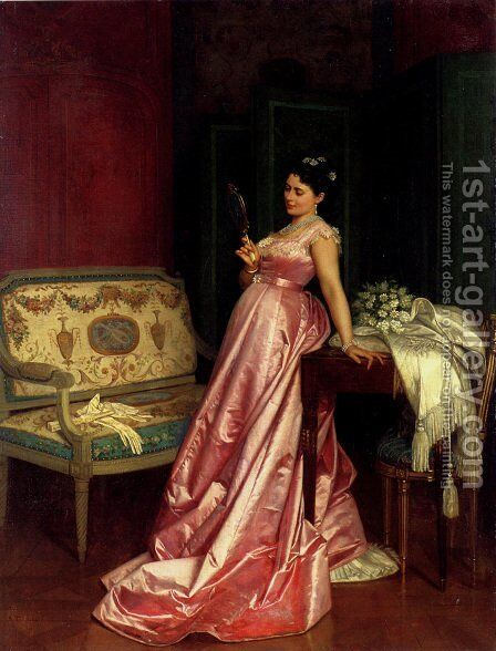The Admiring Glance by Auguste Toulmouche - Reproduction Oil Painting
