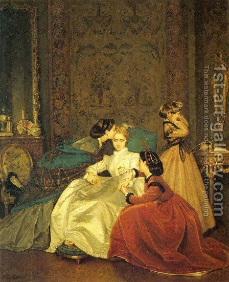 The Reluctant Bride by Auguste Toulmouche - Reproduction Oil Painting