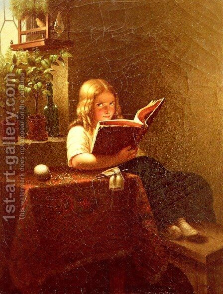 Das Lesende Mädchen (The Reading Girl) by Meyer Georg von Bremen - Reproduction Oil Painting