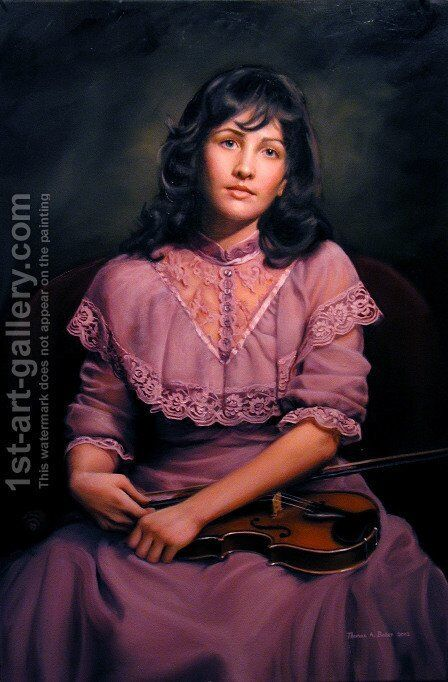 Kathleen with a Violin by Hendrikus van den Sande Bakhuyzen - Reproduction Oil Painting