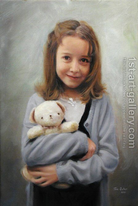Mary with her Teddy by Hendrikus van den Sande Bakhuyzen - Reproduction Oil Painting