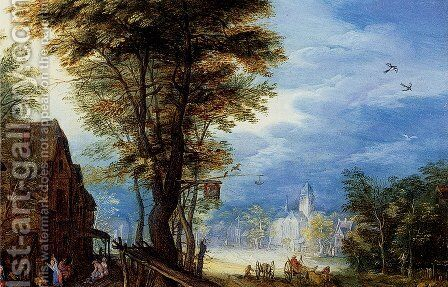 A Village Street With The Holy Family Arriving At An Inn [detail: 1] by Jan The Elder Brueghel - Reproduction Oil Painting